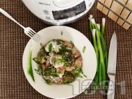 Пилешки хапки с броколи, гъби печурки, арпаджик и заквасена сметана в Делимано Мултикукър